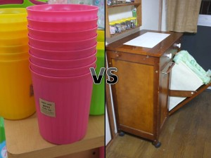 Left is a plastic office bin. Right is two hidden trash receptacles AND a counter.